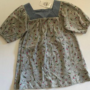 baby GAP flower print cotton dress w denim detail